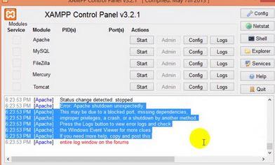 How to fix Apache Shutdown suddenly in Xampp?